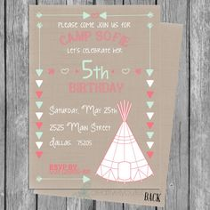 Hey, I found this really awesome Etsy listing at https://www.etsy.com/listing/192382599/camping-teepee-girls-birthday-invitation