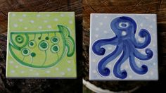Starbucks Coffee Company Set of Two Coaster Tile Hand Painted Italy Octopus Fish  | eBay