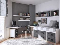 Best Teen Boy Bedrooms Chill Grey And Orange Room Design For A