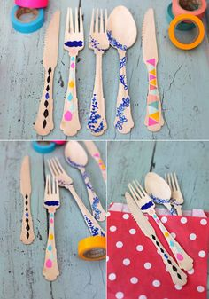 Home: Eleven Washi Tape Interiors Ideas (via DIY Inspiration: Washi Tape Flatware Tapas, Plastic Ware, Paint Plastic, Plastic Silverware, Washi Tape Crafts, Tape Art, Palette, Wooden Diy, Making Ideas