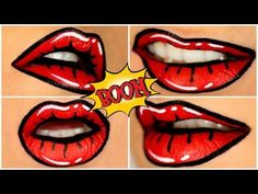 Lip Art Tutorial: Cartoon / pop art - YouTube