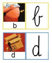 Letterkaartjes om kinderen die de b en d verwisselen te helpen.