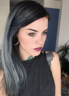 16 black hair with silver grey highlights - Styleoholic