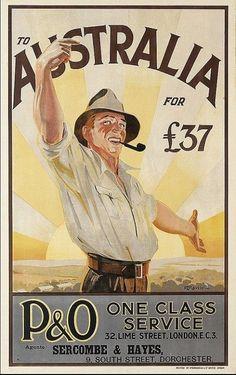 Vintage emigrate to australia travel poster Vintage Advertising Posters, Vintage Travel Posters, Vintage Advertisements, Vintage Ads, Retro Posters, Emigrate To Australia, Posters Australia, Australian Vintage, Australian Beer