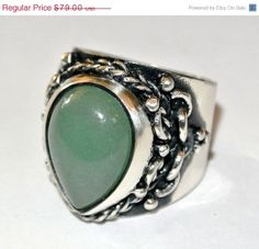 HOLIDAY SALE Sterling and Jade Ring. by colorsofthesouthwest, $71.10