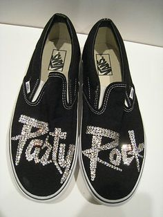 Party Rock is in the house tonight!    Men's Vans from LMFAO - crystal studded! lol i wanna get it(: