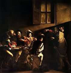 The Calling of Saint Matthew-Caravaggio-Baroque Era-Italy-Depicts a spiritual light shining on Matthew as Christ chooses him to be his follower.
