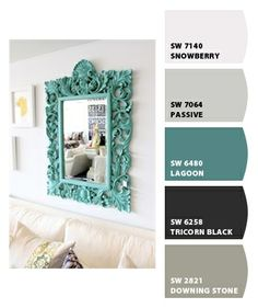 Simplicity - Most of room is in hues of white with one color accented - this Tiffany color mirror on wall - simple & elegant.
