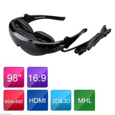 Excelvan 98 Inch 3D Video Glasses Virtual Screen Eyewear