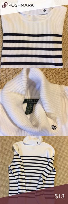 Beautiful black stripe on white sweater like new! 🎁🎁☃️☃️😜Crazy prices all in my closet!  Gotta Move it all out these items are less than one year old !   I've lost weight and we're moving sale, both combined = HUGE SAVINGS TO YOU !!! Priced to sell quick Shop my closet now for XL - L and size 9-10 quality shoes and accessories! Lauren Ralph Lauren Sweaters
