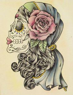 tattoo idea!! love sugar skulls (: