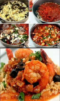 Skinny Spicy Garlicky Baked Shrimp with Tomatoes and Feta.  Olives optional.