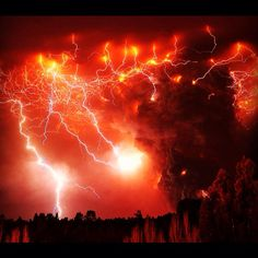 Electrical storm  - that looks like maybe that volcano in Chile. Volcanoes ash plumes can create lightening.