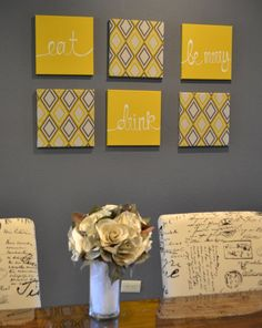 Eat Drink & Be Merry Yellow and Gray Wall Art by GoldenPaisley, $125.00
