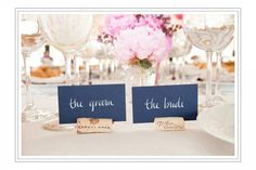 dark grey, white and pink are always a good combo.  very chic place cards!