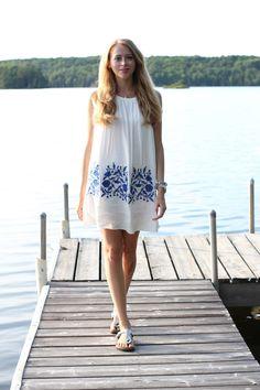 chicwish blue embroidery dress