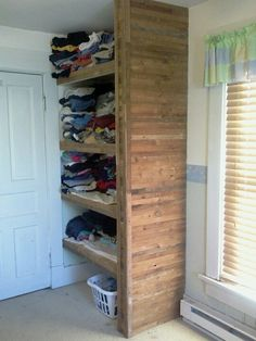 Lathe board shelves for extra clothing storage in bedroom