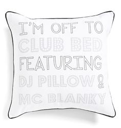 Hitting the sheets for a luxurious night in featuring this fresh white pillow and the glorious beat of blissful snores.