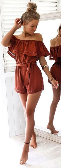 cool summer outfit idea / off-shoulder palysuit
