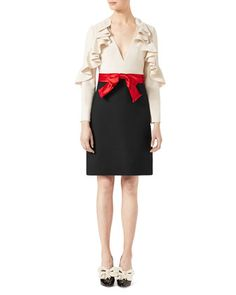 Gucci Silk-Wool Dress with Sculpted Sleeves