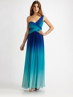 Ombre! Teal! BCBGMAXAZRIA! Asymmetry and grecian lines! I don't think I could love a dress more. BCBGMAXARIA silk ombre gown - Saks.com