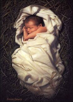 My FAVORITE painting of baby Jesus. Nativity Pictures by Simon Dewey Arte Lds, Simon Dewey, Jesus E Maria, Pictures Of Christ, Baby Jesus Pictures, Lds Art, Happy Birthday Jesus, A Child Is Born, Baby Born