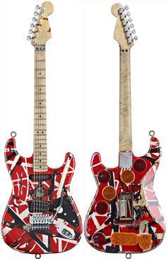 Eddie's Frankenstrat - the guitar that had us all learning to tap, hammer and pull off. There's nothing very precious about this guitar. It was Eddie's lab for both technique and hardware. Looked great on stage but mess close up.