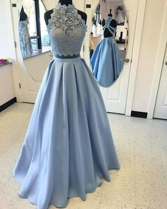 Blue prom dress, Two Pieces wedding dress, Handmade White prom dress, 2017 evening dress, cheap prom dress, PD00375