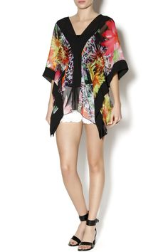 Bright colored kimono with floral pattern