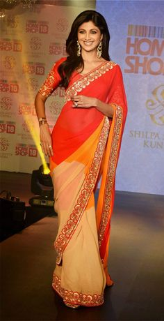 Shilpa Shetty in New Delhi to launch her sari collection with Home Shop 18.