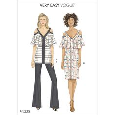Vogue Patterns Sewing Pattern Misses' Cold-Shoulder, Flounce Top and Dress, and Bootcut Pants Spring 2018 Fashion Trends, Fashion 2018, Spring Fashion, Vogue Patterns, Patron Simplicity, Patron Butterick, Frill Tops, Dress Sewing Patterns, Cold Shoulder