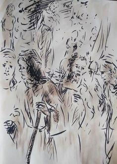 21 Avril 2018, évangile du jour illustré par un dessin au lavis