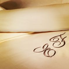 Embroidered initial letters for a luxury bedlinen <3   #embroidery #ricamo #bedlinen #biancheria #luxurybed