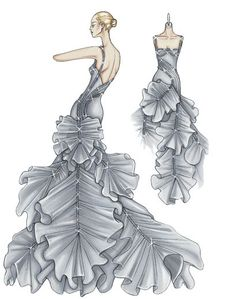 fashion sketches Spring 2009 Atelier Versace: Red Carpet Ruffles and Whorls Atelier Versace, Versace Versace, Fashion Sketchbook, Fashion Design Drawings, Fashion Sketches, Drawing Fashion, Fashion Art, Vintage Fashion, Paper Fashion