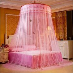 [Canony Bed DIY Ideas] Mosquito Luxury Princess Bed Net Canopy Round Hoop Netting Mosquito Net Bedroom Decor (Dome Nets, Pink) -- You can find more details by visiting the image link.