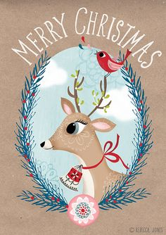 Happy Christmas to you! :: Rebecca Jones – Illustration Happy Christmas to you! Noel Christmas, Vintage Christmas Cards, Little Christmas, Christmas Greetings, Vintage Cards, Winter Christmas, Christmas Crafts, Christmas Decorations, Vintage Quotes