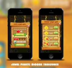Jewel Pirate: Digger Treasure interface and logo on Behance