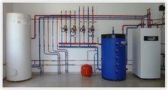 Géothermie : Ces différents types d'installations permettent de desservir des circuits radiateurs basse température et plancher chauffant ainsi que la production d'eau chaude sanitaire.     Le fonctionnement de l'ensemble est géré par des systèmes de régulation avec sonde extérieure.