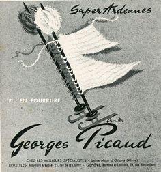 """Modes et travaux n° 611 - novembre 1951 - Publicité pour le fil """"Super Ardennes"""" de Georges Picaud, marque aujourd'hui disparue."""
