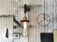 Lamp industrial globe red applique bottle pipes lights and