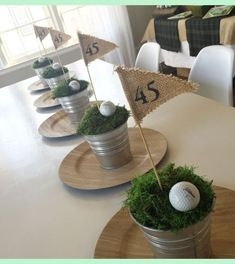 Golf centerpieces. More                                                                      ...   Hole In One First Birthday   Golf Cake   Golf Party Favors   Golf Birthday Party Favors. Whether you like playing golf or seeing golf, a golfing theme party is a swinging event for fans of all ages. Picking your invite is the equivalent of the title of a paper, it sets the tone for the entire...
