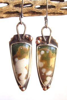 Earrings  Orchid  Sterling Silver  Ocean Jasper  by rmddesigns,