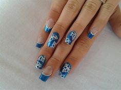 BLUE FRENCH!!! by R7777 - Nail Art Gallery nailartgallery.nailsmag.com by Nails Magazine www.nailsmag.com #nailart