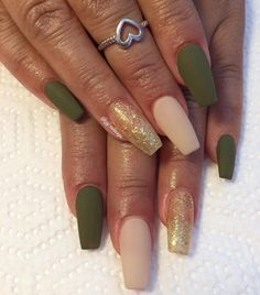 Fall Gel Nails, Fall Acrylic Nails, Aycrlic Nails, Glam Nails, Classy Nails, Hot Nails, Hair And Nails, Manicures, Matte Olive Green Nails