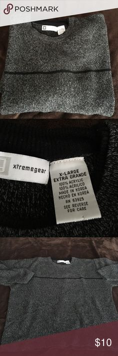 Men's XL Sweater Seldom worn men's XL black/ gray knit light weight sweater 100% Acrylic. No pilling/ snags/ stains/ blemishes. Like new. Sweaters Crewneck