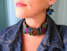 Felt Necklace Multi Color Handmade Zipper And Felted Wool Recycled Vintage Zippers $100. Love these colours