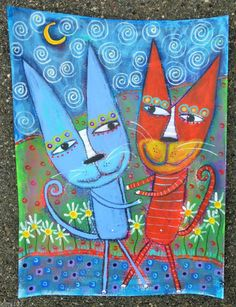 Tracey Ann Finley Original Outsider Folk Painting Red Kitty Cat Under Moon