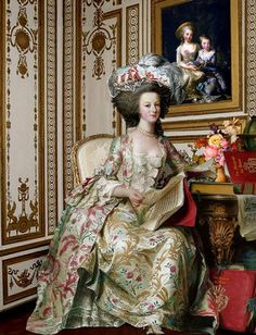 Marie Antoinette--thus painting is so beautiful. It almost looks like a photograph!