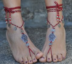 """Valentine's day """"Heart of viana"""" BAREFOOT SANDALS dark RED foot jewelry hippie sandal toe anklet crochet barefoot sandals portuguese jewelry by PanoParaTanto on Etsy https://www.etsy.com/listing/216840725/valentines-day-heart-of-viana-barefoot"""