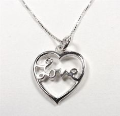 STERLING SILVER ISLAND HEART WITH LOVE KEEPSAKE LOVERS GIFT PENDANT NECKLACE